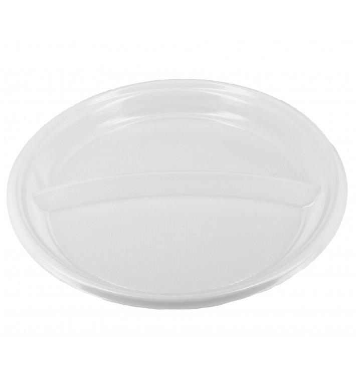 Assiette Plastique PS Creuse 2 Compartiments (360 Utés)