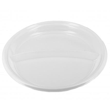 Plato de Plastico 2 Compartimentos Blanco 220 mm (6 Unidades)