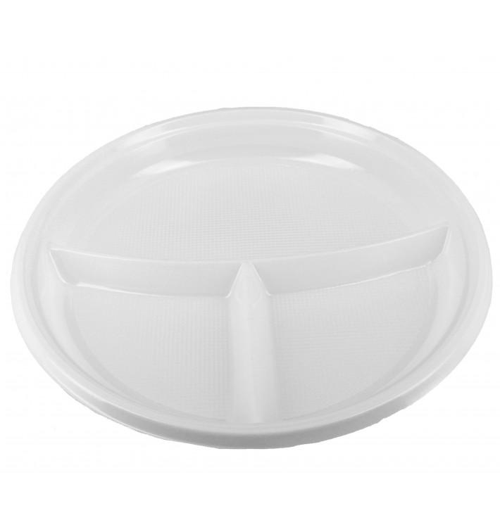 Assiette Plastique Creuse PS 220mm 3 Compartiments (360 Utés)