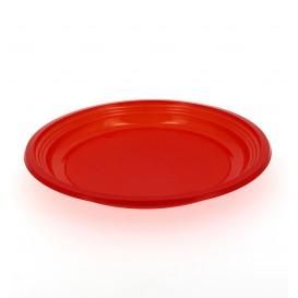 Plato Llano de Plastico PS Rojo 205mm (Bolsa 10 Uds)