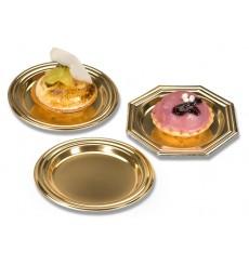 Mini Assiette à Dessert en Plastique Doré Octogonale 8cm (125 Utés)