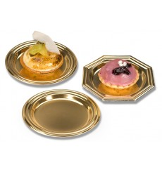 Mini Assiette à Dessert en Plastique Doré Ronde 8cm (1000 Utés)