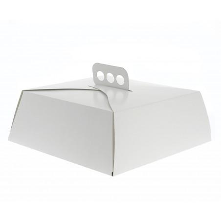 Boîte en Carton Blanc Tarte 27x27x10cm (50 Utés.)