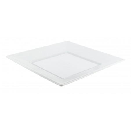 Plato Cuadrado de Plastico Llano Blanco 170mm (25 Uds)