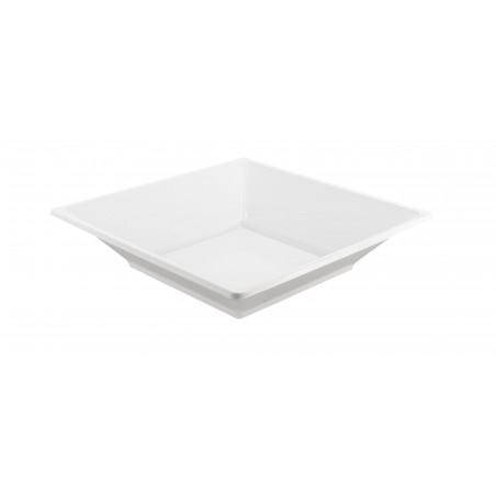 Plato Cuadrado de Plastico Hondo Blanco 170mm (25 Uds)