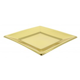 Assiette Plastique Carrée Plate Doré 180mm (25 Utés)