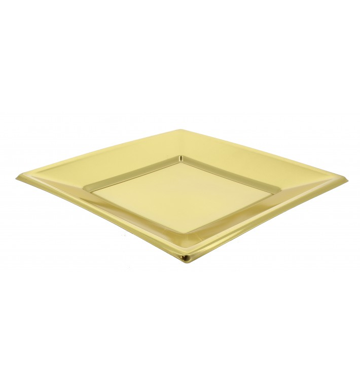 Assiette Plastique Carrée Plate Doré  230mm (3 Unités)