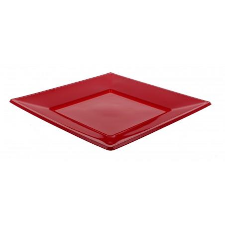 Assiette Plastique Carrée Plate Rouge 170mm (375 Unités)