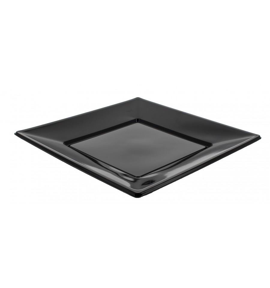 assiette plastique carr e plate noire 170mm 6 ut s. Black Bedroom Furniture Sets. Home Design Ideas