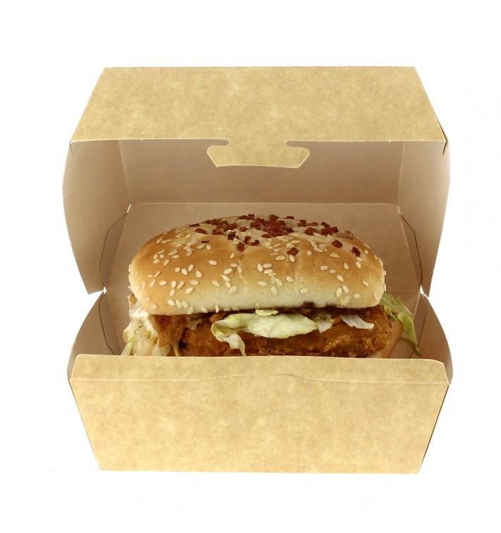 Boîte Kraft pour Hamburger XXL 15,5x15,5x8 cm (400 Unités)