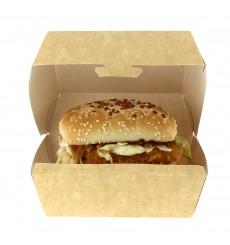 Boîte Kraft pour Hamburger XXL 15,5x15,5x8 cm (350 Unités)
