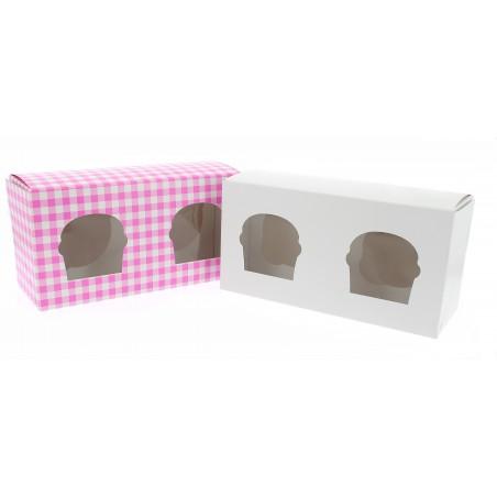Boîte pour 2 Cupcakes Blanc avec insert (20 Unités)