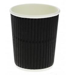 Gobelet Carton 8oz/250ml Ondulé Noir Ø7,8cm (1.000 Unités)