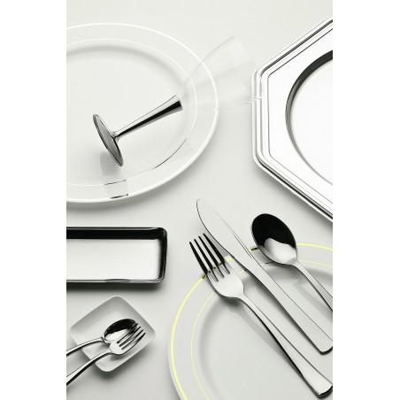 Assiette en Plastique Dur avec Liseré Argent 23cm (20 Utés)