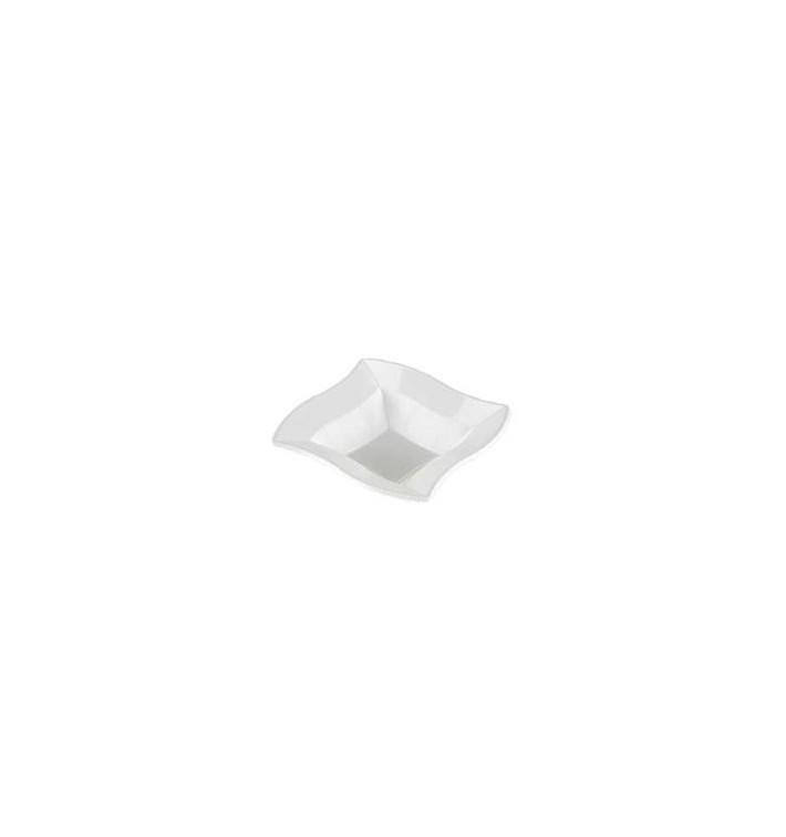 Bol carré ondulé en plastique blanc 18cm (6 Unités)