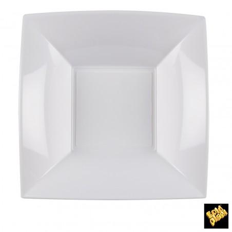Assiette Plastique Fond Carrée Argent 180mm (25 Utés)