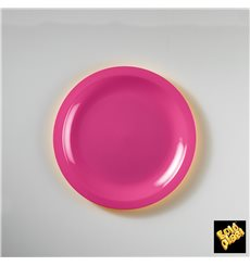 Assiette Plastique Plate Fuchsia Ø185mm (50 Utés)