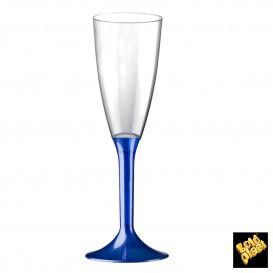 Flûte Champagne Plastique Pied Bleu Perlé 120ml (200 Utés)