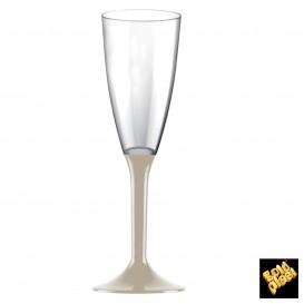 Flûte Champagne Plastique Pied Beige 120ml (20 Unités)