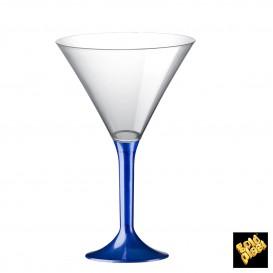 Flûte en Plastique Cocktail Pied Bleu Perlé 185ml (20 Unités)