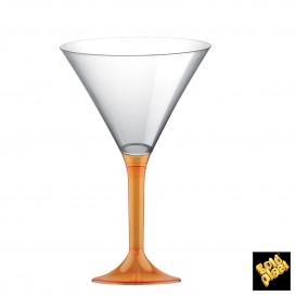 Flûte en Plastique Cocktail Pied Orange Trans. 185ml (20 Unités)