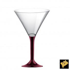 Flûte en Plastique Cocktail Pied Bordeaux 185ml (20 Unités)
