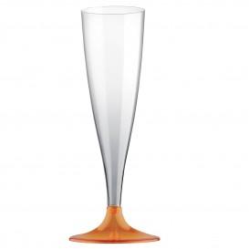 Flûte Champagne Plastique Pied Orange Transp. 140ml (20 Unités)