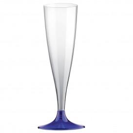 Flûte Champagne Plastique Pied Bleu 140ml (400 Unités)