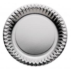 """Assiette ronde Carton """"Party"""" Argenté Ø230mm (10 Unités)"""