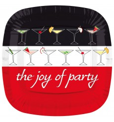 Assiette Carton Carré Plate ''Joy of Party'' 230mm (200 Unités)
