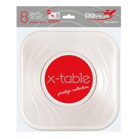 """Assiette Plastique PP """"X-Table"""" Carré Plate Perle 230mm (8 Unités)"""