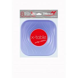 """Assiette Plastique PP """"X-Table"""" Carré Plate Violet 180mm (120 Unités)"""