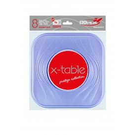 """Assiette Plastique PP """"X-Table"""" Carré Plate Violet 230mm (8 Unités)"""