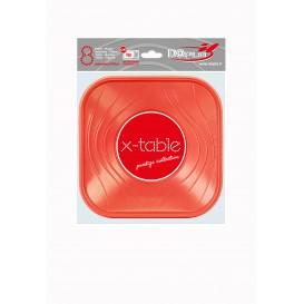 """Assiette Plastique PP """"X-Table"""" Carré Plate Orange 180mm (8 Unités)"""