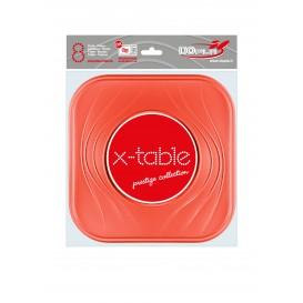 """Assiette Plastique PP """"X-Table"""" Carré Plate Orange 230mm (8 Unités)"""