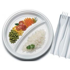 Assiette Plastique PS Plate 2 Compartiments Blanche 220mm (100 Unités)