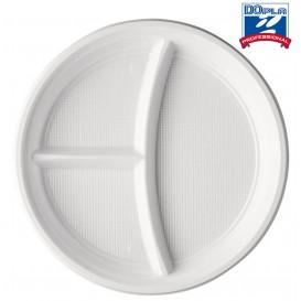 Assiette Plastique PS 3 Compartiments 220mm (100 Utés)