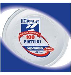 Assiette Plastique Blanche PS 220 mm (100 Unités)