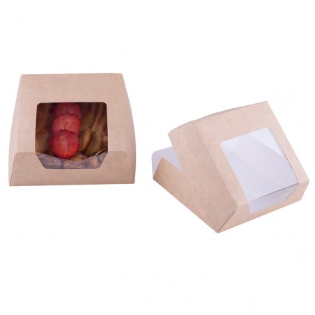 Boîte en Carton Kraft avec Fenêtre 120x120x40mm (25 Utés)