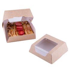 Boîte en Carton Kraft avec Fenêtre 140x140x50mm (250 Utés)