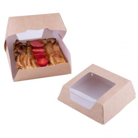 Boîte en Carton Kraft avec Fenêtre 140x140x50mm (25 Utés)