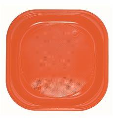 Assiette Plastique PS Carrée Plate Orange 200x200mm (30 Unités)