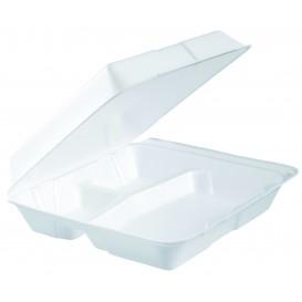 Boîte en FOAM MenuBOX 3 C. Blanc 240x235mm (100 Utes)