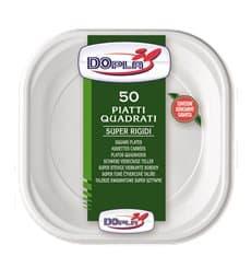Assiette Plastique PS Carrée Dur Blanc 200x200mm (1000 Unités)