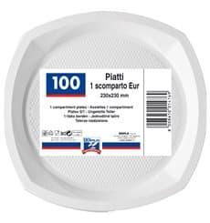 Assiette Plastique PS Plate Blanc 200x200mm (100 Unités)