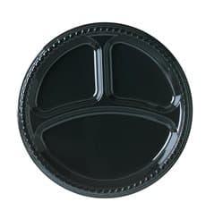 Assiette Plastique Party PS Plate Noir 3 compartiments Ø260mm (25 Unités)