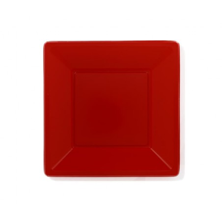 Assiette Plastique Carrée Plate Rouge 230mm (750 Unités)