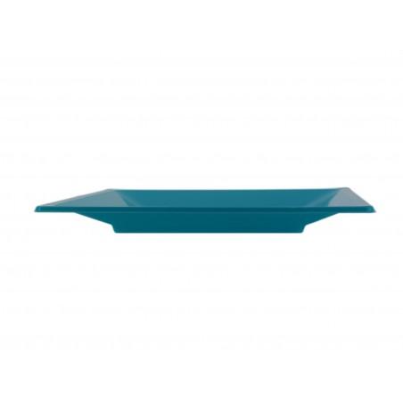 Assiette Plastique Carrée Plate Turquoise 230mm (25 Utés)