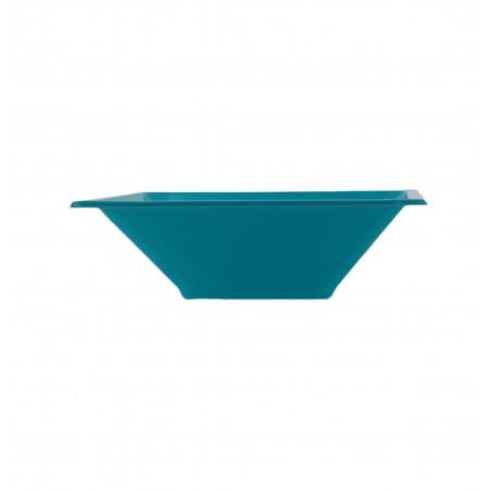 Bol carré en plastique Turquoise 120x120x40mm (12 Utés)