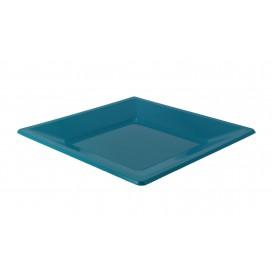 Assiette Plastique Carrée Plate Turquoise 230mm (750 Utés)